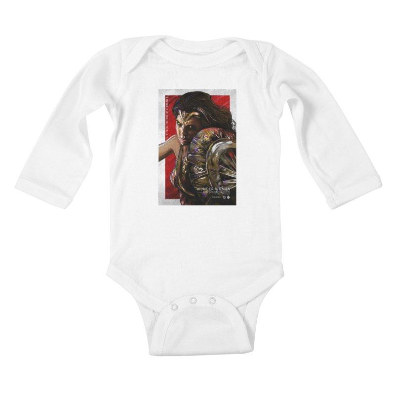 Wonder Woman (Red) Kids Baby Longsleeve Bodysuit by Payback Penguin