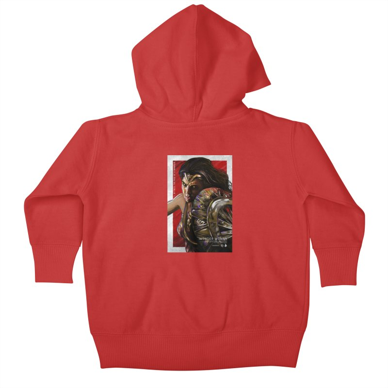 Wonder Woman (Red) Kids Baby Zip-Up Hoody by Payback Penguin