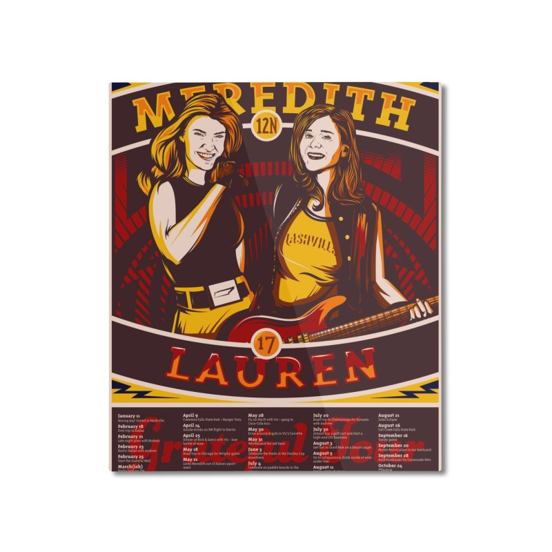 Meredith and Lauren Yellow Home Mounted Aluminum Print by Payback Penguin