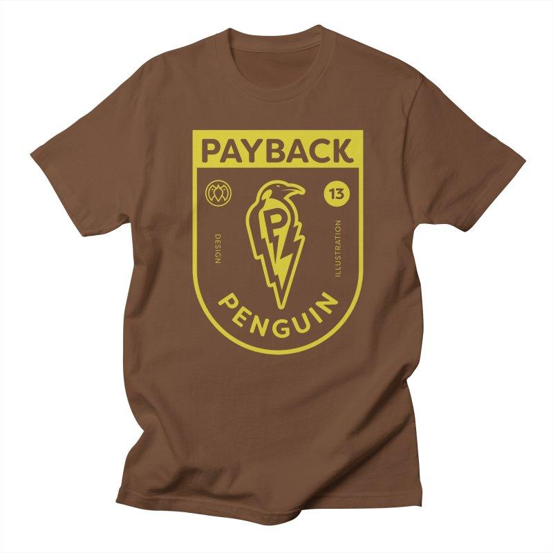 Payback Penguin Lightening Shield - Dark in Men's Regular T-Shirt Brown by Payback Penguin