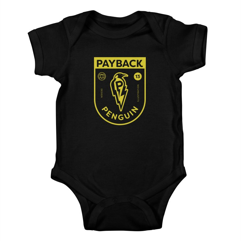 Payback Penguin Lightening Shield - Dark Kids Baby Bodysuit by Payback Penguin