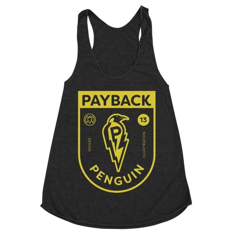 Payback Penguin Lightening Shield - Dark Women's Racerback Triblend Tank by Payback Penguin