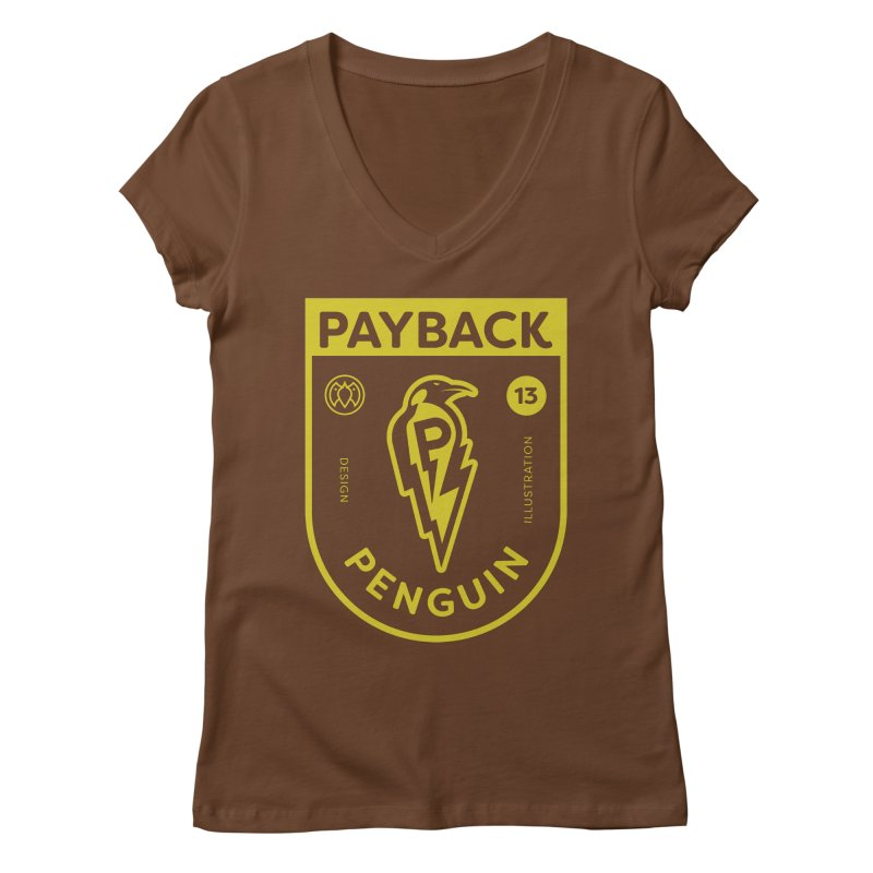 Payback Penguin Lightening Shield - Dark Women's Regular V-Neck by Payback Penguin