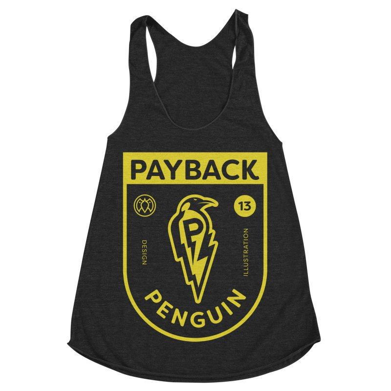 Payback Penguin Lightening Shield - Dark Women's Racerback Triblend Tank by Payback Penguin