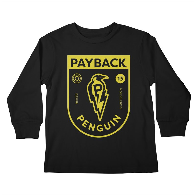 Payback Penguin Lightening Shield - Dark Kids Longsleeve T-Shirt by Payback Penguin