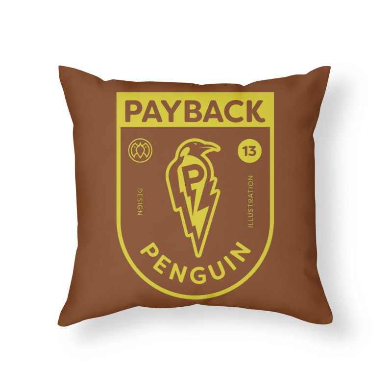 Payback Penguin Lightening Shield - Dark Home Throw Pillow by Payback Penguin