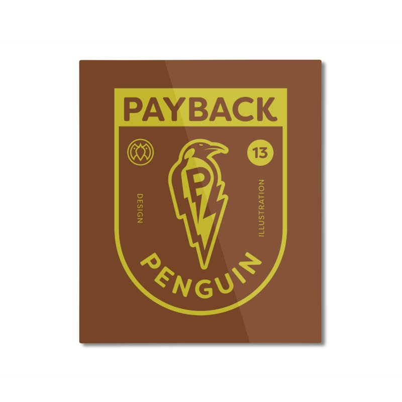 Payback Penguin Lightening Shield - Dark Home Mounted Aluminum Print by Payback Penguin