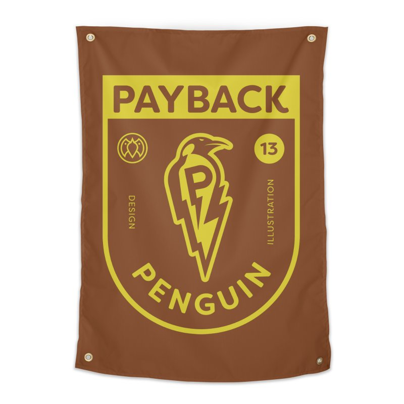 Payback Penguin Lightening Shield - Dark Home Tapestry by Payback Penguin
