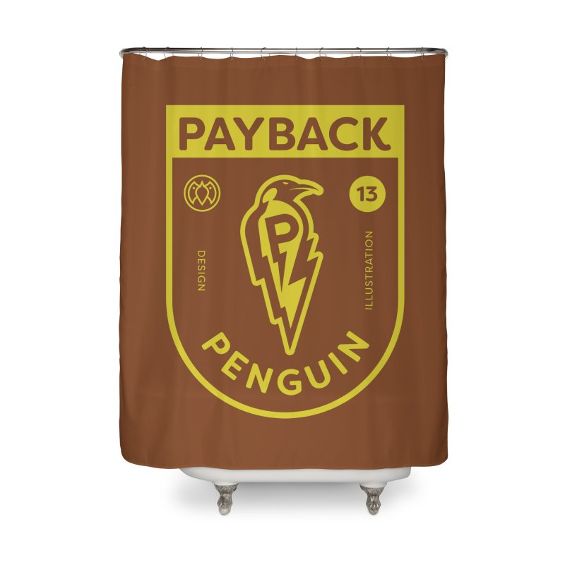 Payback Penguin Lightening Shield - Dark Home Shower Curtain by Payback Penguin