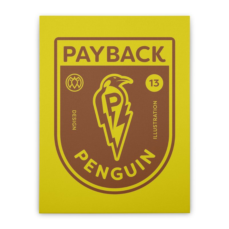 Payback Penguin - Lightening Shield Light Home Stretched Canvas by Payback Penguin