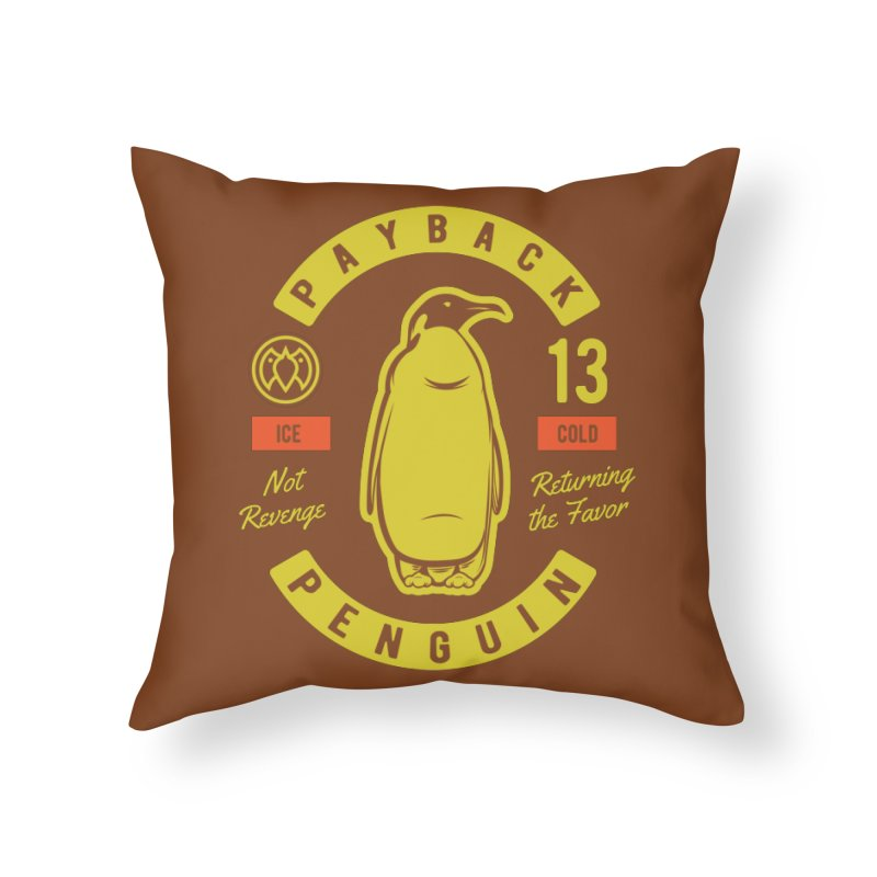Payback Penguin - Ice Cold - Dark Home Throw Pillow by Payback Penguin