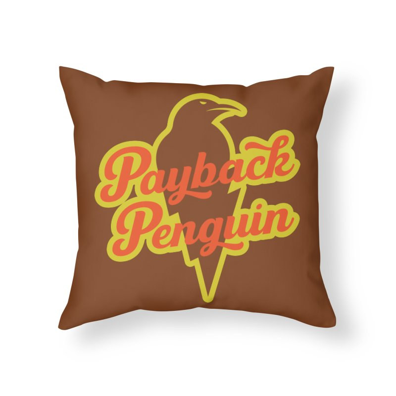 Payback Penguin - Lightening Home Throw Pillow by Payback Penguin