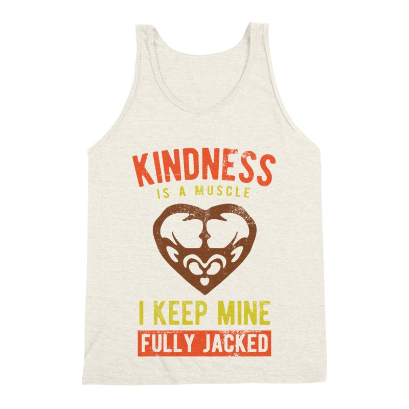 Payback Penguin - Kindness (Cream) in Men's Triblend Tank Heather Oatmeal by Payback Penguin