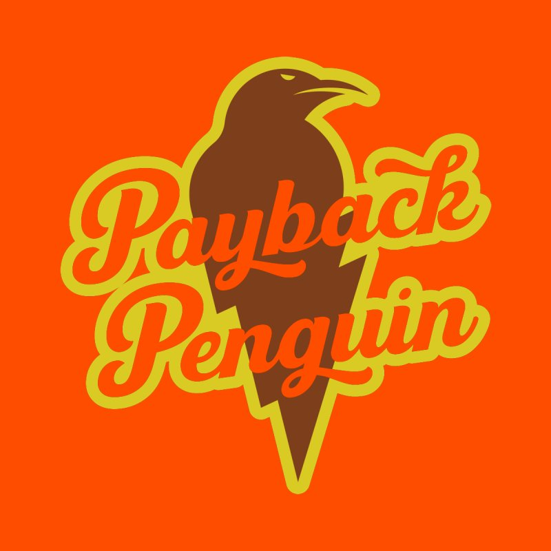 Bolt Penguin - Orange Men's T-Shirt by Payback Penguin