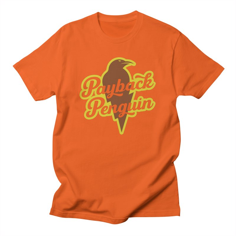 Bolt Penguin - Orange Men's T-Shirt by Payback Penguin