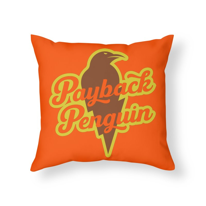 Bolt Penguin - Orange Home Throw Pillow by Payback Penguin
