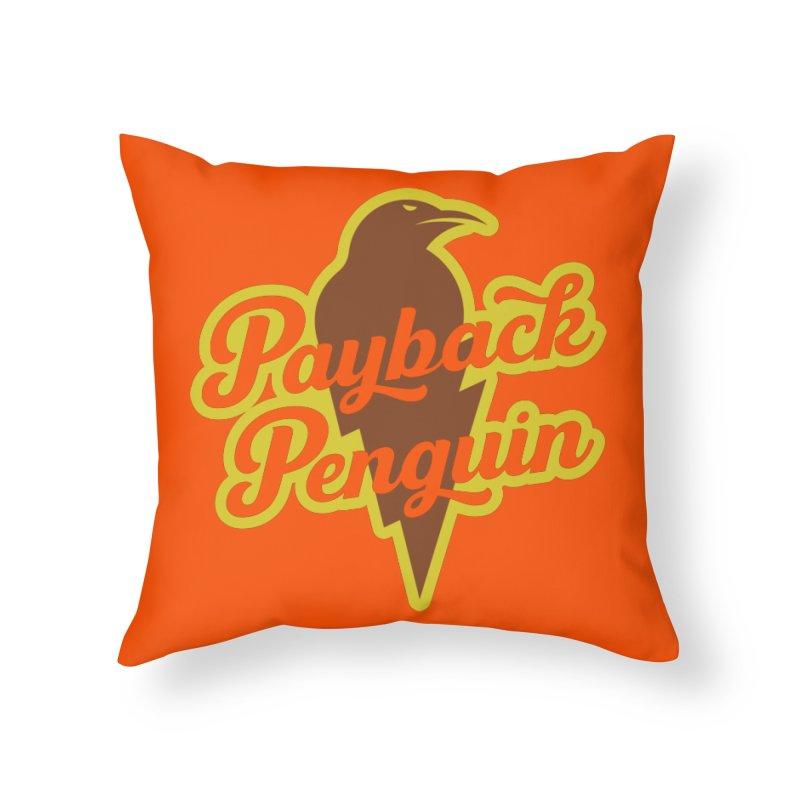 Bolt Penguin - Orange Home Throw Pillow by Payback Penguin
