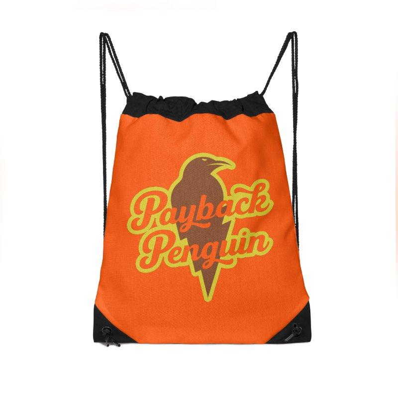 Bolt Penguin - Orange Accessories Drawstring Bag Bag by Payback Penguin