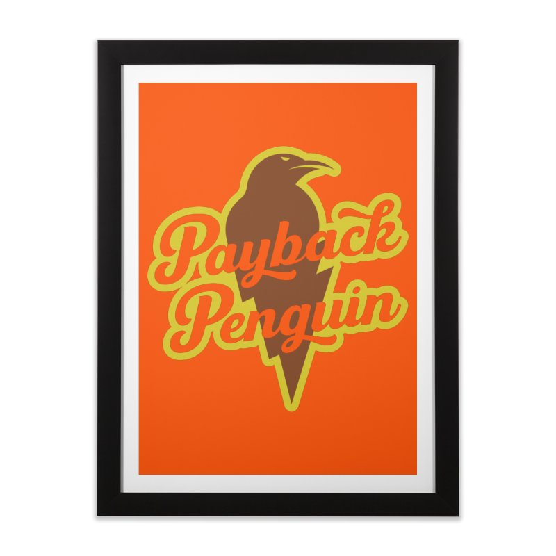 Bolt Penguin - Orange Home Framed Fine Art Print by Payback Penguin