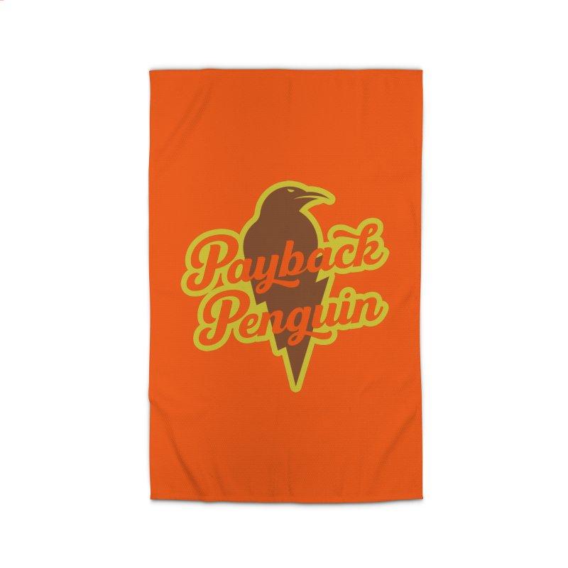 Bolt Penguin - Orange Home Rug by Payback Penguin