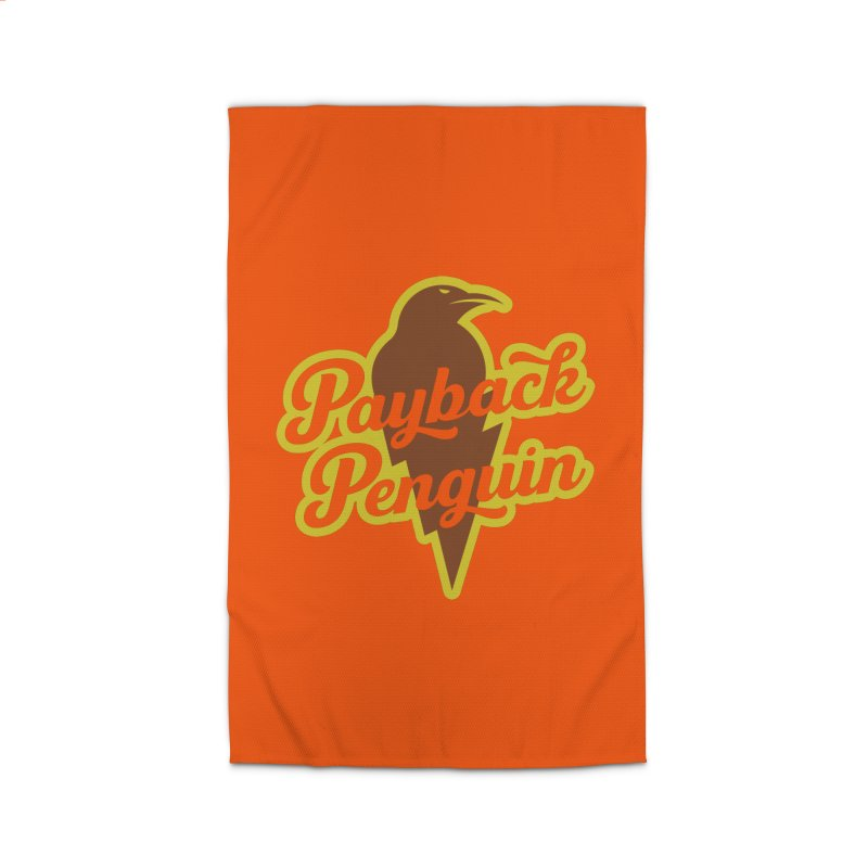 Bolt Penguin - Orange Home Rug by Payback Penguin