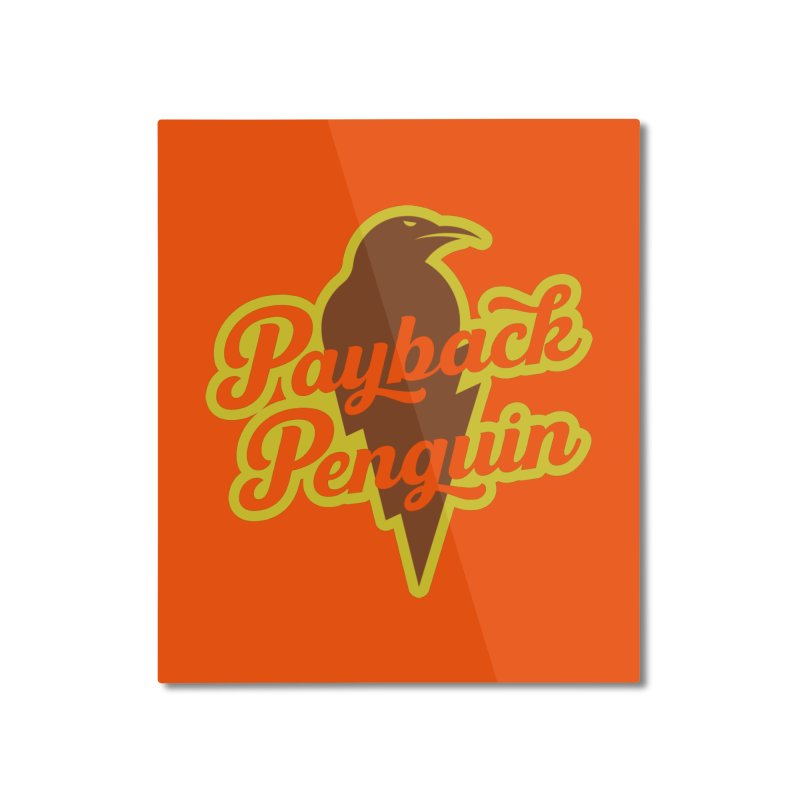 Bolt Penguin - Orange Home Mounted Aluminum Print by Payback Penguin