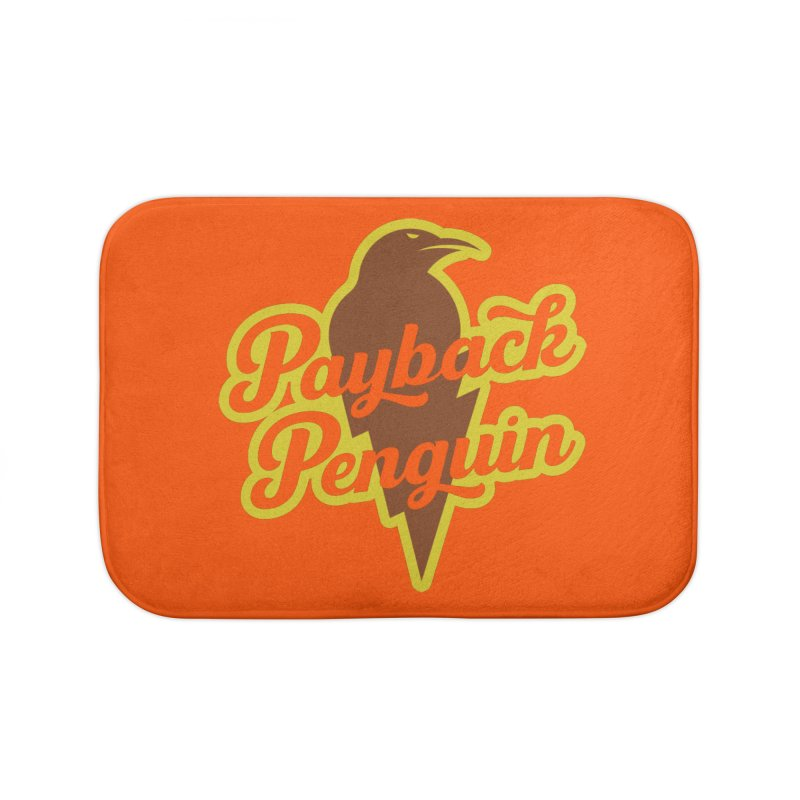 Bolt Penguin - Orange Home Bath Mat by Payback Penguin