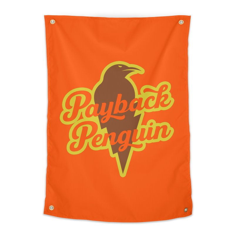 Bolt Penguin - Orange Home Tapestry by Payback Penguin