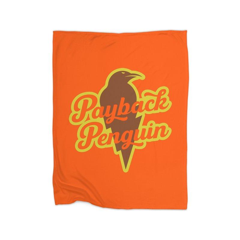 Bolt Penguin - Orange Home Blanket by Payback Penguin
