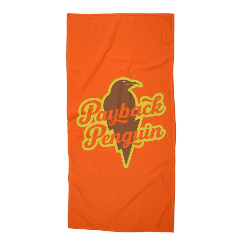 Bolt Penguin - Orange Accessories Beach Towel by Payback Penguin