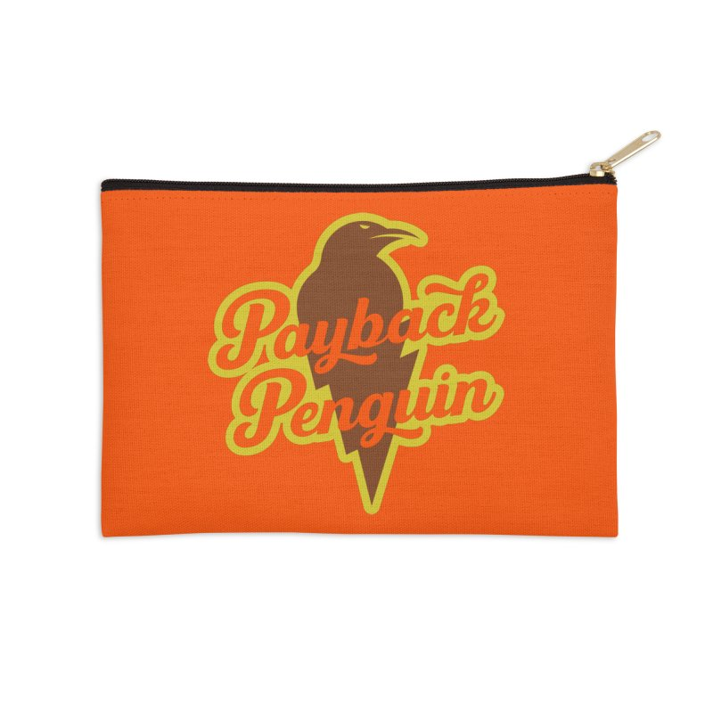Bolt Penguin - Orange Accessories Zip Pouch by Payback Penguin