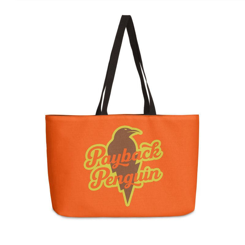 Bolt Penguin - Orange Accessories Weekender Bag Bag by Payback Penguin