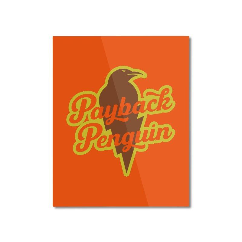 Bolt Penguin - Orange Home Mounted Aluminum Print by Payback Penguin