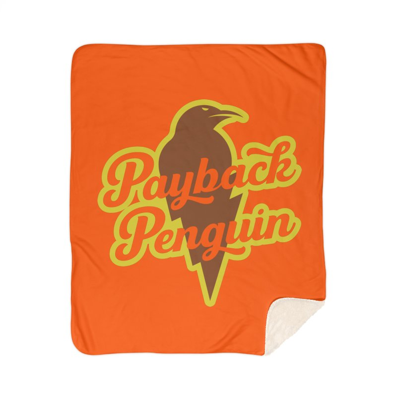 Bolt Penguin - Orange Home Blanket by Payback Penguin