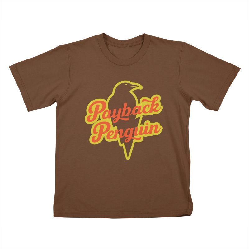 Bolt Penguin - Brown Kids T-Shirt by Payback Penguin