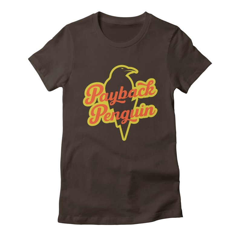 Bolt Penguin - Brown Women's Fitted T-Shirt by Payback Penguin