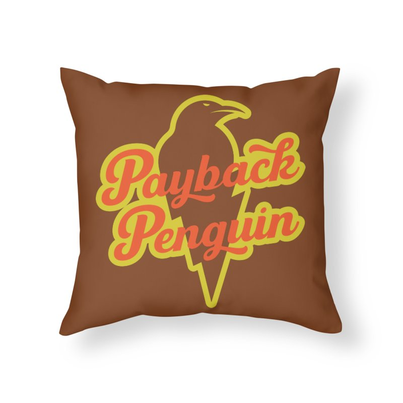 Bolt Penguin - Brown Home Throw Pillow by Payback Penguin