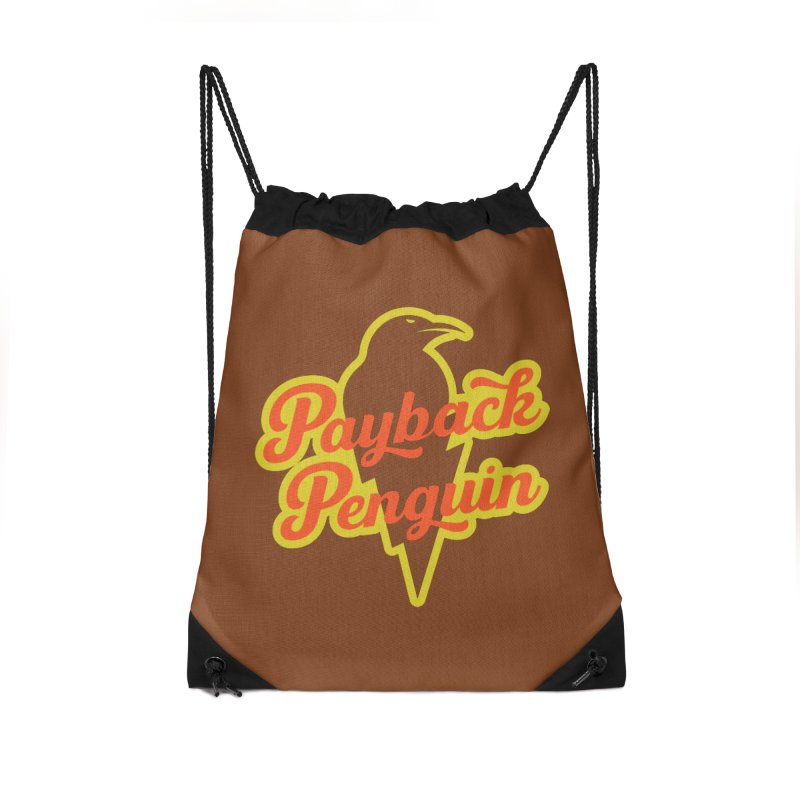 Bolt Penguin - Brown Accessories Drawstring Bag Bag by Payback Penguin
