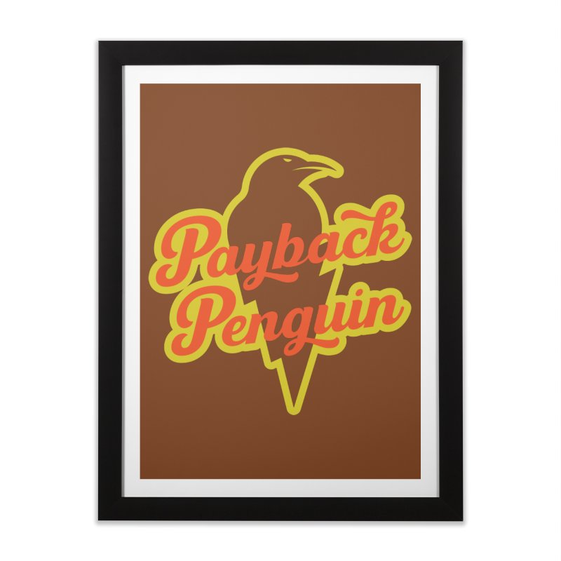 Bolt Penguin - Brown Home Framed Fine Art Print by Payback Penguin
