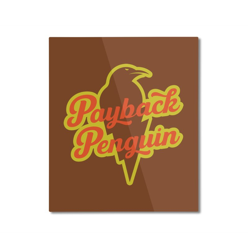 Bolt Penguin - Brown Home Mounted Aluminum Print by Payback Penguin