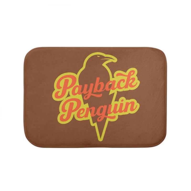 Bolt Penguin - Brown Home Bath Mat by Payback Penguin