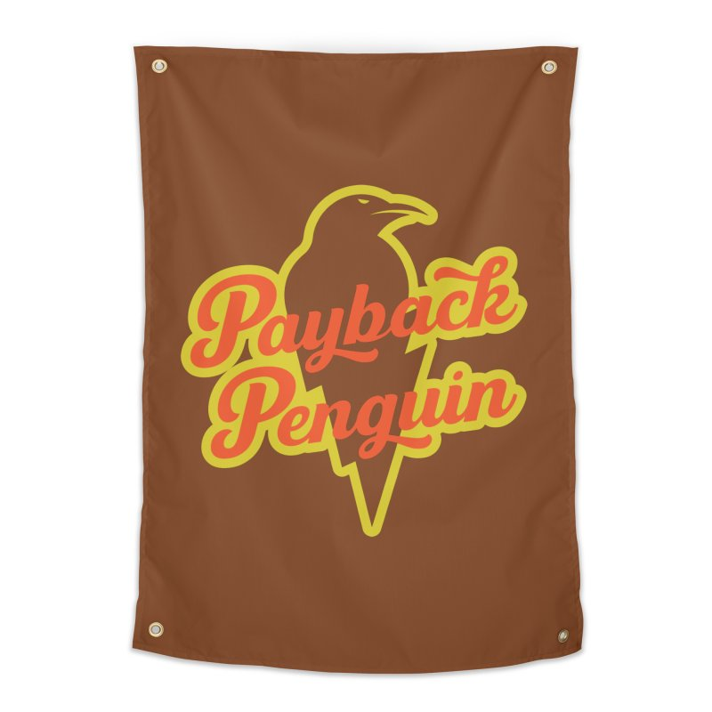 Bolt Penguin - Brown Home Tapestry by Payback Penguin