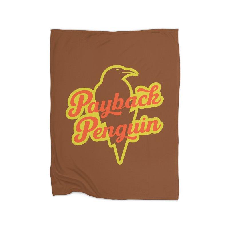 Bolt Penguin - Brown Home Blanket by Payback Penguin