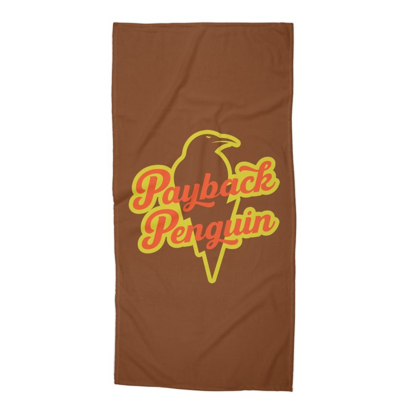 Bolt Penguin - Brown Accessories Beach Towel by Payback Penguin