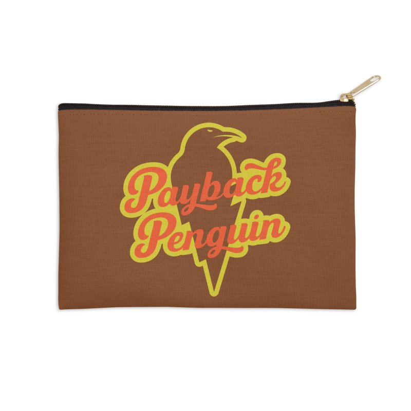 Bolt Penguin - Brown Accessories Zip Pouch by Payback Penguin