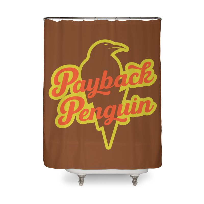 Bolt Penguin - Brown Home Shower Curtain by Payback Penguin