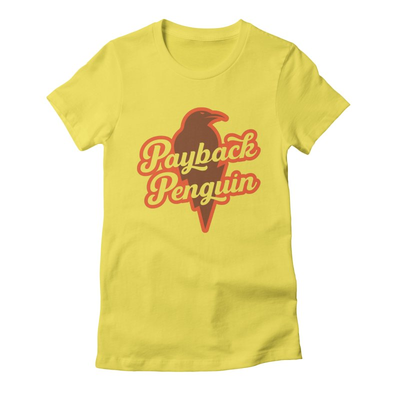 Bolt Penguin - Yellow Women's Fitted T-Shirt by Payback Penguin