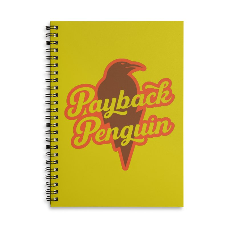 Bolt Penguin - Yellow Accessories Lined Spiral Notebook by Payback Penguin