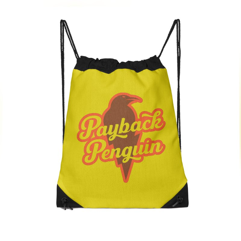 Bolt Penguin - Yellow Accessories Drawstring Bag Bag by Payback Penguin
