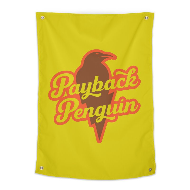 Bolt Penguin - Yellow Home Tapestry by Payback Penguin